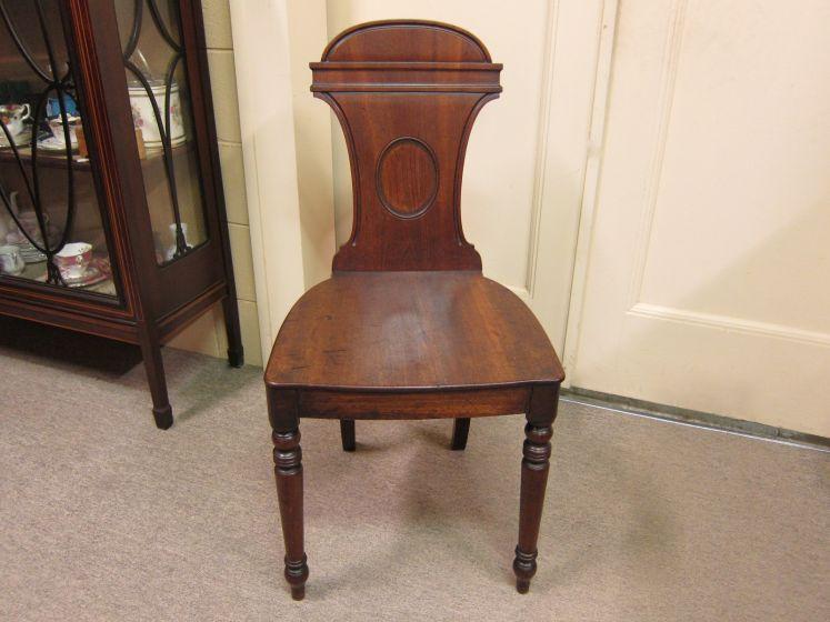 Georgian Walnut Hall Chair, c.1820
