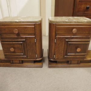Pair of French Oak Art Deco Bedsides