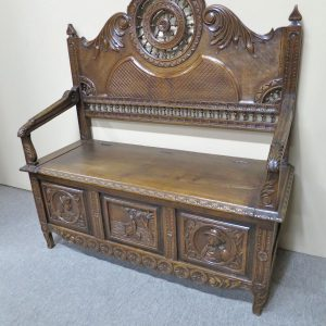 19th Century Oak Breton Settle