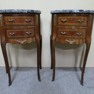 French inlaid bedside tables, c.1920