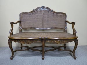 19th Century French Walnut & Cane Sofa