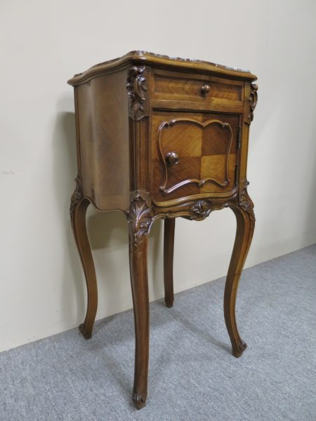 French Walnut Bedside Cabinet, c.1890