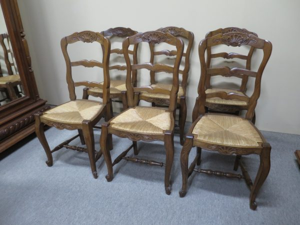 Set of 6 French ladder back chairs