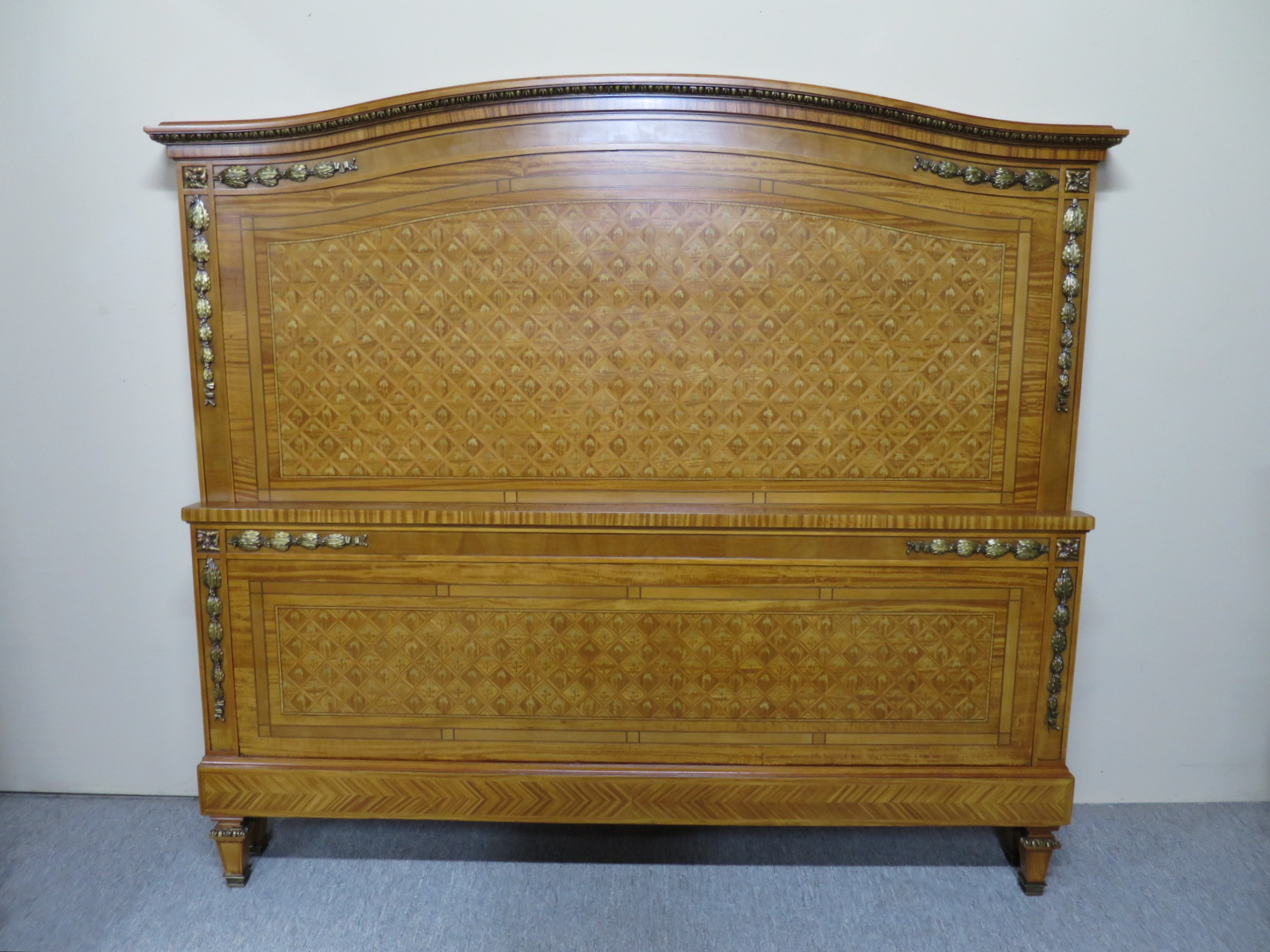 French Satin Walnut Queen Size Bed
