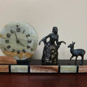 French Art Deco Alabaster Clock c.1930