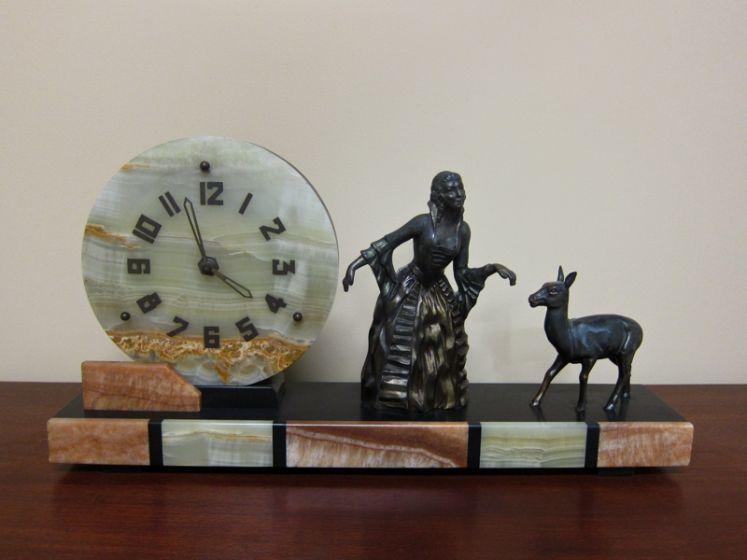 French Art Deco Alabaster Clock c.1930