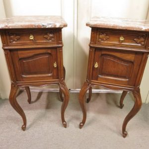 French Pair of Oak Bedside Cabinets