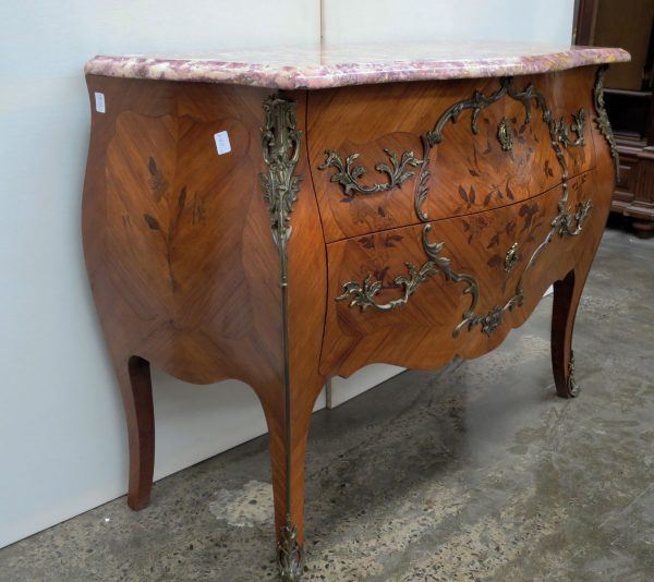 Fine Inlaid Marble Top Commode