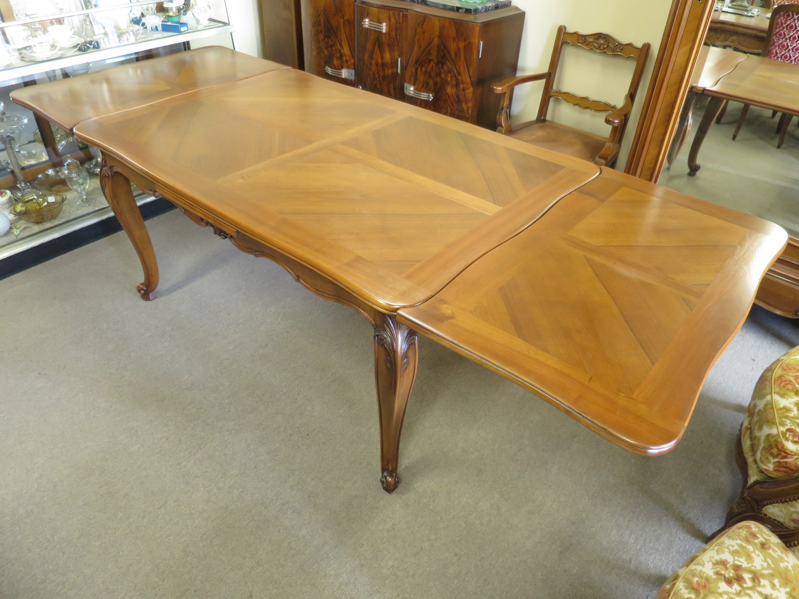French walnut extension dining table