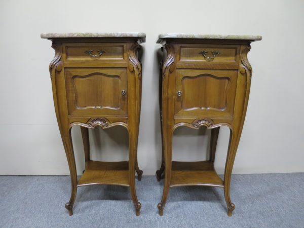 French Pair of Walnut Bedside Cabinets