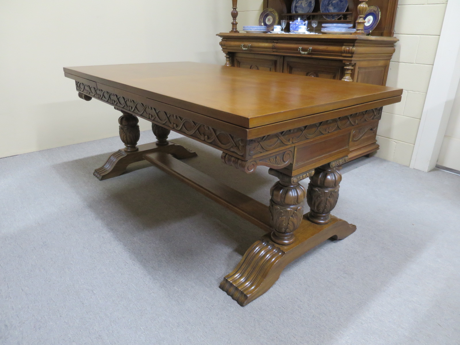 Large Oak Extension Dining Table
