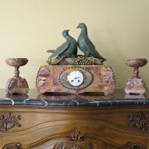 French Signed Marble Clock Set
