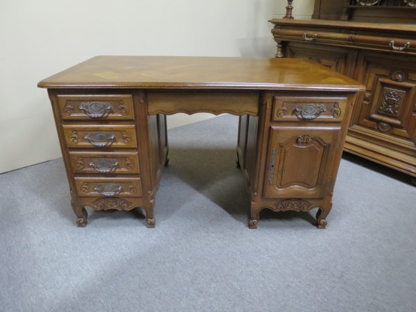 French Oak Parquetry Top Desk
